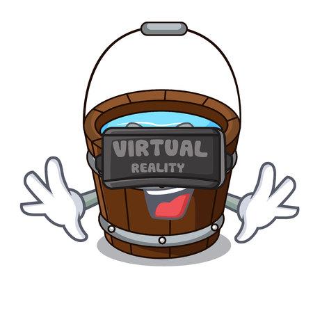 Virtual reality wooden bucket mascot cartoon vector illustration Illustration