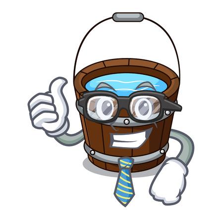 Homme d'affaires seau en bois personnage dessin animé illustration vectorielle