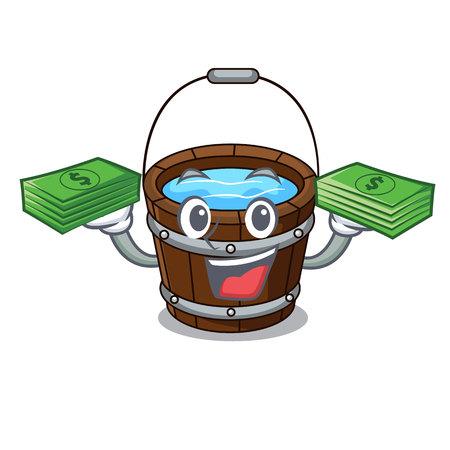 With money wooden bucket mascot cartoon vector illustration