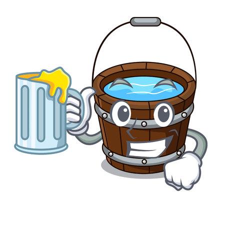 With juice wooden bucket mascot cartoon
