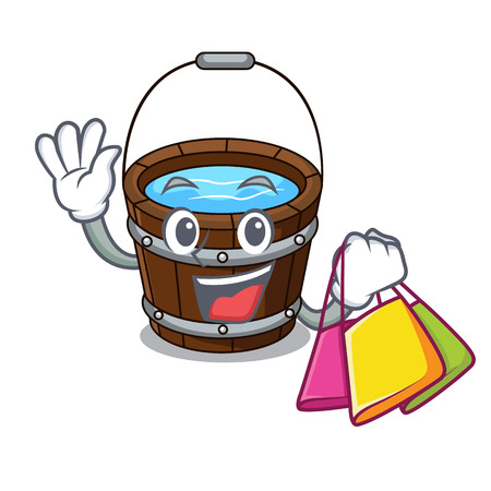 Shopping wooden bucket character cartoon vector illustration