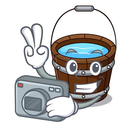 Photographer wooden bucket mascot cartoon vector illustration