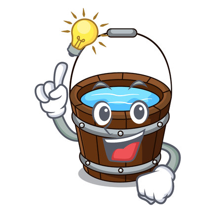 Have an idea wooden bucket mascot cartoon vector illustration Çizim
