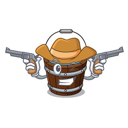 Cowboy wooden bucket character cartoon vector illustration Illustration
