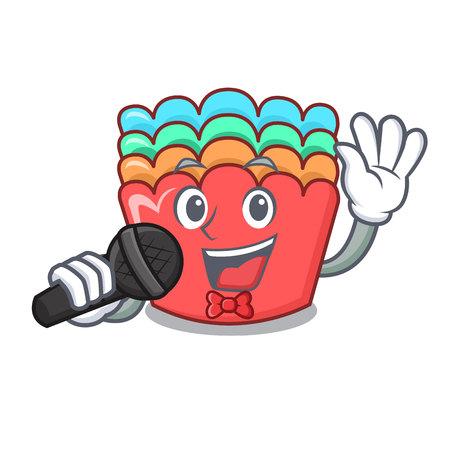 Singing baking molds mascot cartoon vector illustration