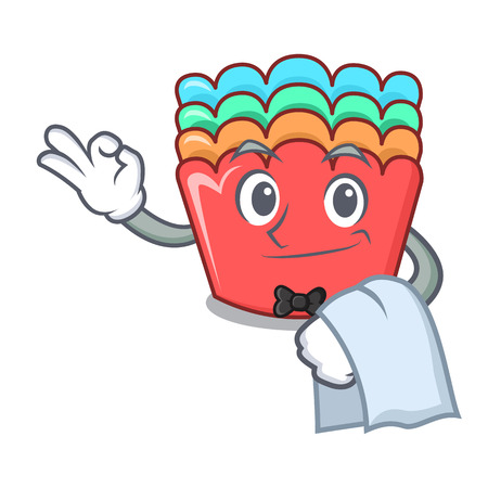 Waiter baking molds mascot cartoon vector illustration