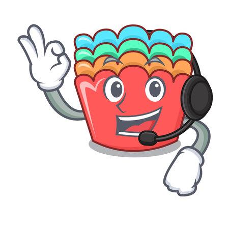 With headphone baking molds mascot cartoon