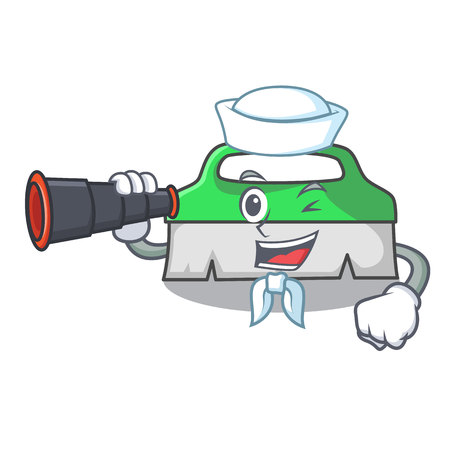 Sailor with binocular scrub brush mascot cartoon vector illustration Ilustração