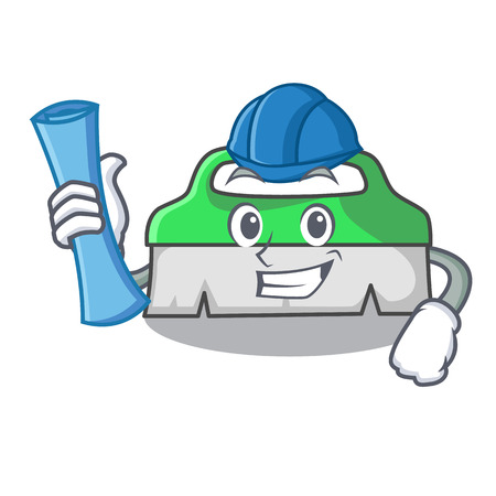 Architect scrub brush character cartoon vector illustration