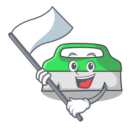 With flag scrub brush mascot cartoon vector illustration