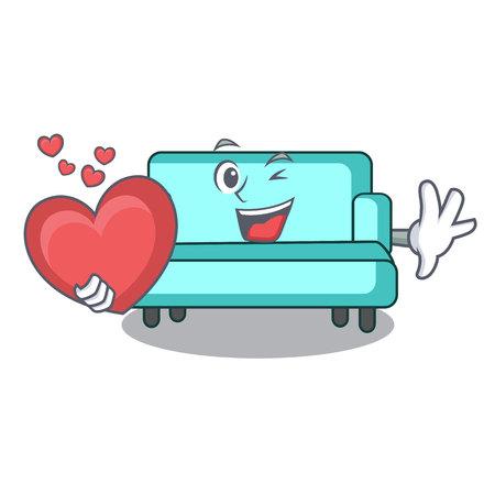 With heart sofa mascot cartoon style vector illustration