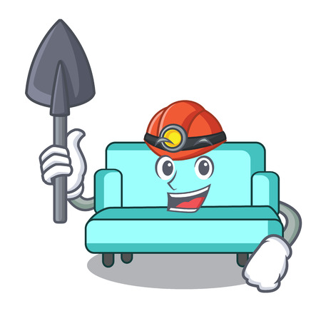 Miner sofa mascot cartoon style vector illustration