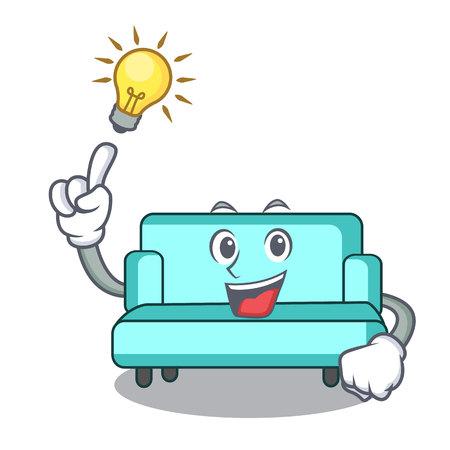Have an idea sofa mascot cartoon style vector illustration