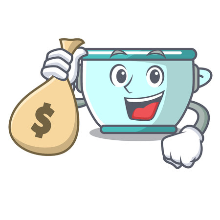 With money bag steel pot character cartoon vector illustration Illustration