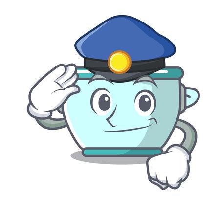 Police steel pot character cartoon vector illustration