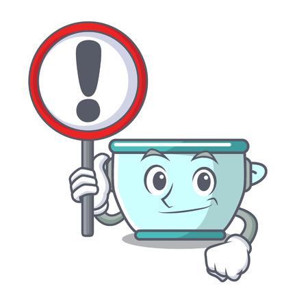 Ilustración de vector de dibujos animados de carácter de olla de acero de signo