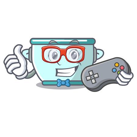 Gamer steel pot mascot cartoon vector illustration
