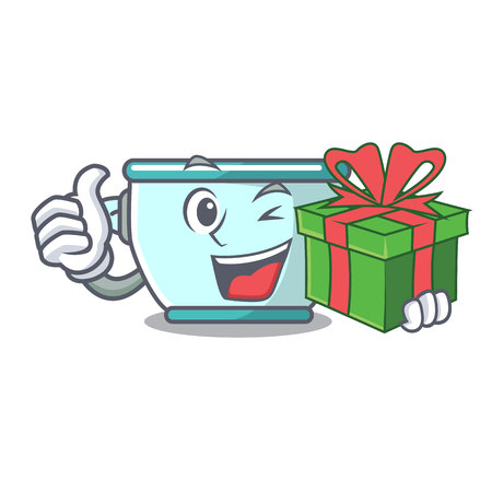 With gift steel pot mascot cartoon vector illustration 일러스트