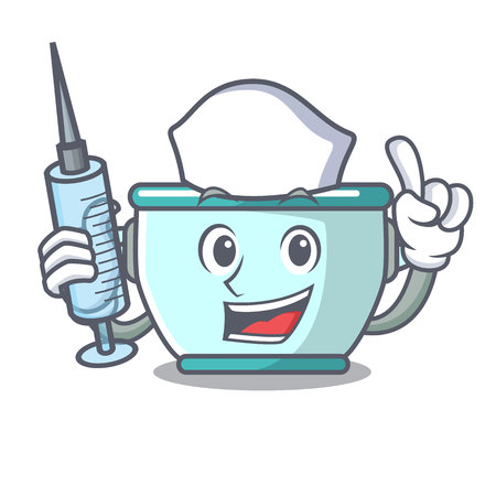 Nurse steel pot character cartoon vector illustration Иллюстрация