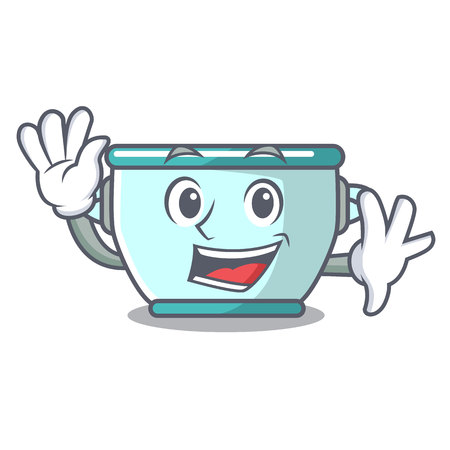 Waving steel pot character cartoon vector illustration
