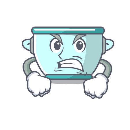 Angry steel pot mascot cartoon vector illustration