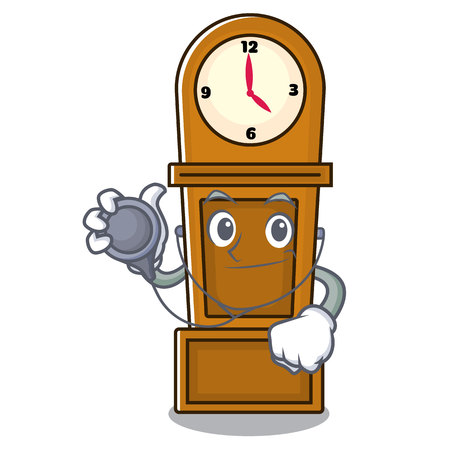 Doctor grandfather clock character cartoon vector illustration