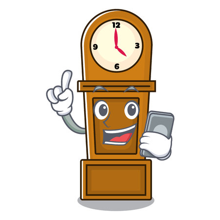 With phone grandfather clock character cartoon vector illustration