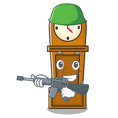 Army grandfather clock character cartoon vector illustration