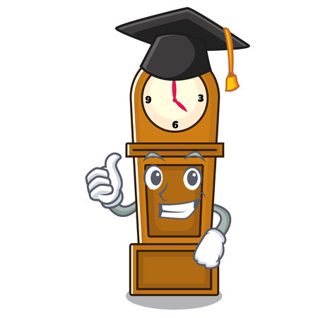 Graduation grandfather clock character cartoon vector illustration Иллюстрация