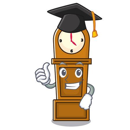 Graduation grandfather clock character cartoon vector illustration Illusztráció