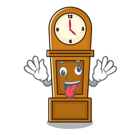 Crazy grandfather clock mascot cartoon vector illustration Vettoriali