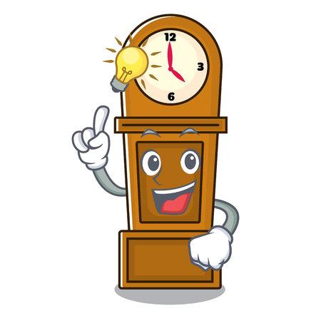 Have an idea grandfather clock mascot cartoon vector illustration