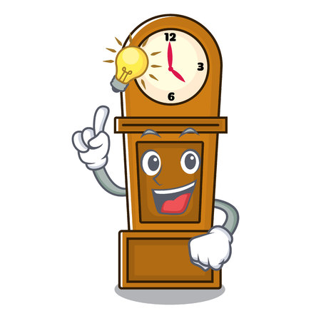 Have an idea grandfather clock mascot cartoon vector illustration