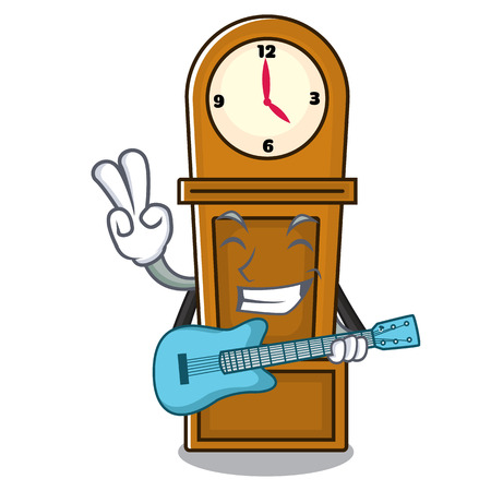 With guitar grandfather clock mascot cartoon vector illustration