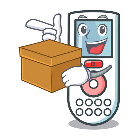 With box remote control character cartoon vector illustration