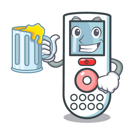 With juice remote control mascot cartoon vector illustration
