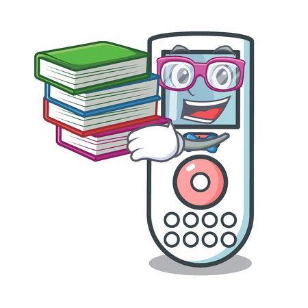 Student with book remote control mascot cartoon vector illustration