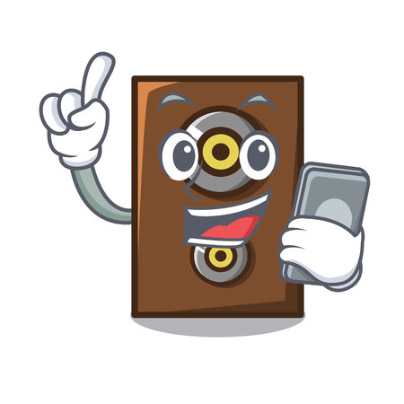 With phone speaker character cartoon style