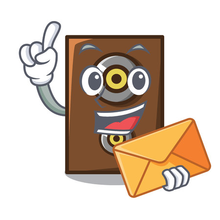 With envelope speaker character cartoon style vector illustration