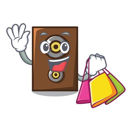 Shopping speaker character cartoon style vector illustration