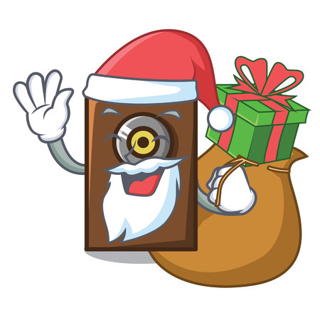 Santa with gift speaker mascot cartoon style vector illustration Illusztráció