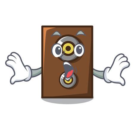 Surprised speaker mascot cartoon style vector illustration