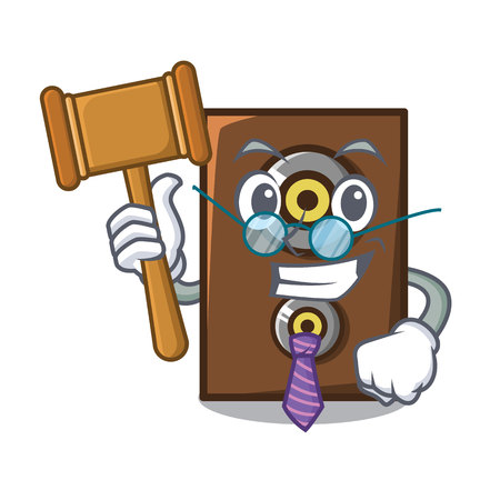 Judge speaker mascot cartoon style vector illustration