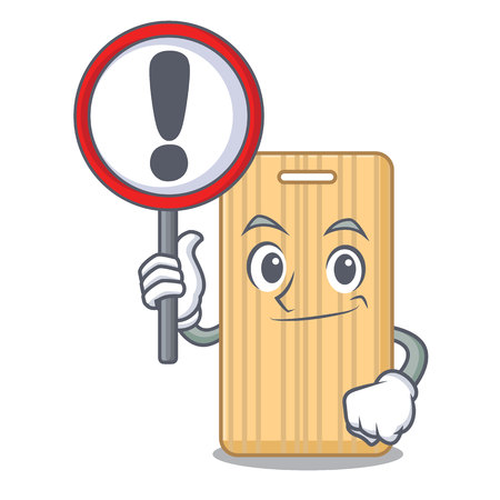 With sign wooden cutting board character cartoon vector illustration