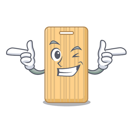 Wink wooden cutting board character cartoon vector illustration