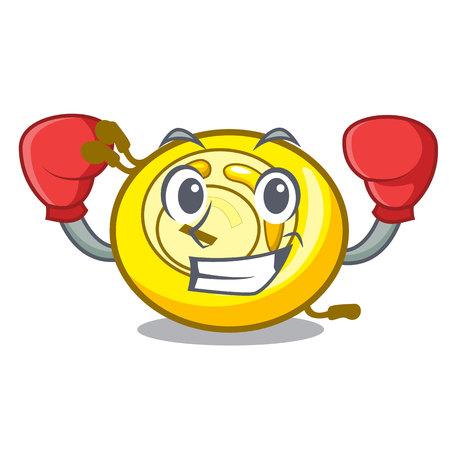 Boxing CD player character cartoon vector illustration