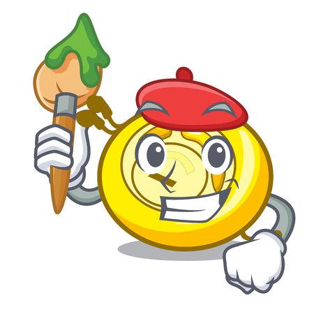 Artist CD player character cartoon vector illustration