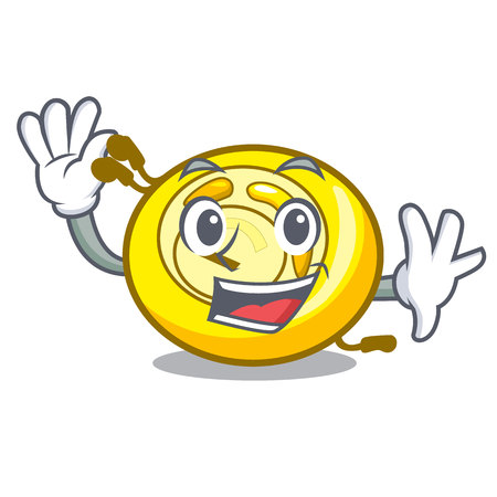 Waving CD player character cartoon vector illustration