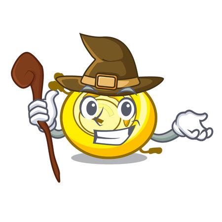 Witch CD player mascot cartoon vector illustration Illustration