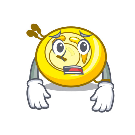 Afraid CD player mascot cartoon vector illustration Ilustração